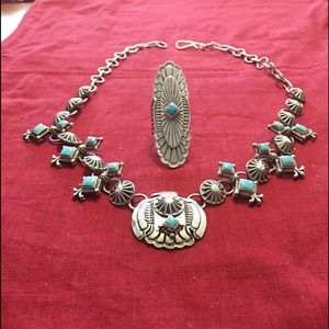 3 Piece Solid Silver Phoenix and Turquoise Set